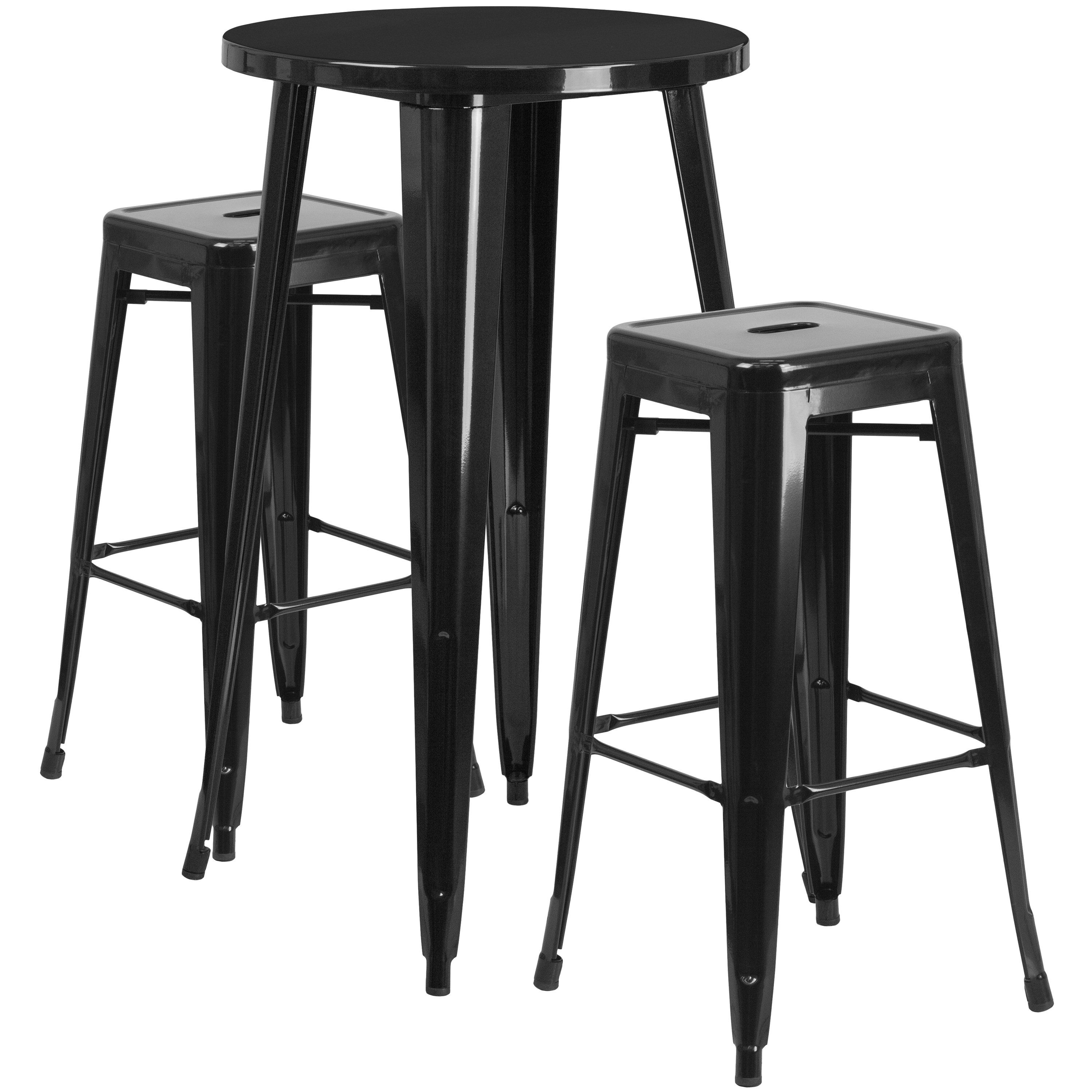 24u0027u0027 Round Black Metal Indoor Outdoor Bar Table Set With 2 Square Seat