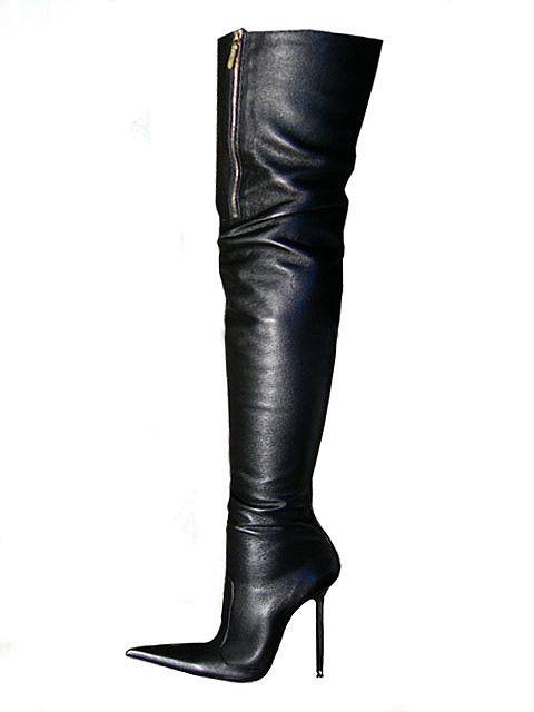 dbb902680821 Di Marni black leather thigh high top zip boots Bottes Cuissardes