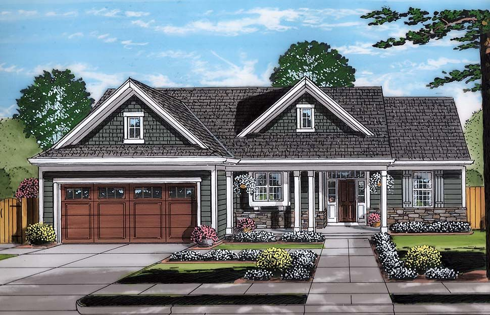 Bungalow Cottage Ranch Elevation Of Plan 98695 Craftsman Style House Plans Cottage Style House Plans Ranch Style House Plans