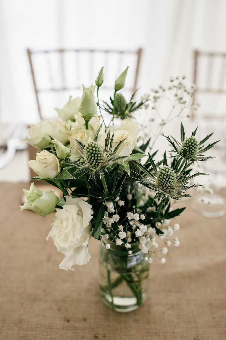 Rustic Relaxed Scottish Beach Wedding White Flowers Jar And Flowers