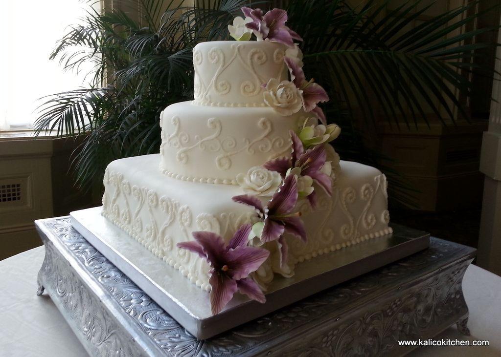 Wedding Cakes 3 Tier Fondant White Scrolls Square Lower