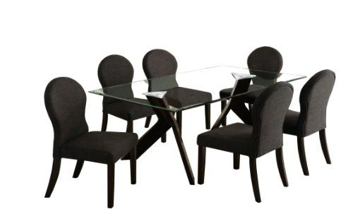 4daaa91749 Furniture of America Humphry 7-Piece Dining Table Set with 10mm Tempered Glass  Top, Espresso Finish