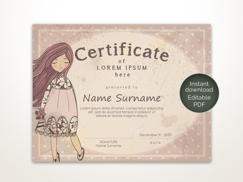 Vintage Certificate Template Editable Printable Template Blank Certificate Birthday Gift Gift For Friend Certificate Templates Template Printable Templates