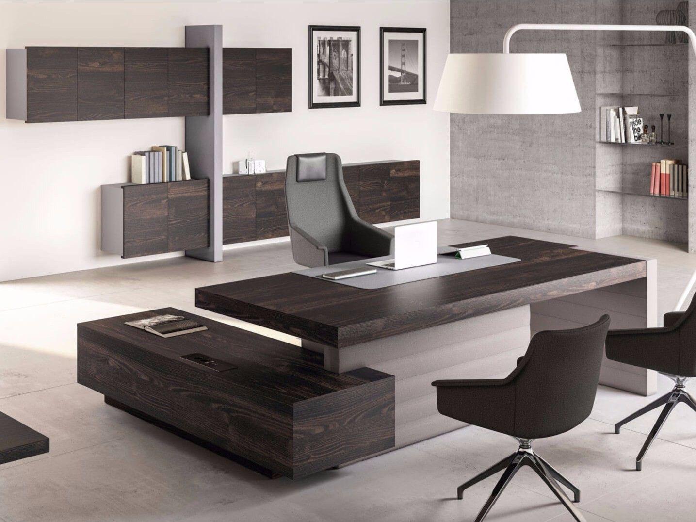 Scrivania Ad Angolo Design : Scrivania ad angolo direzionale con scaffale integrato jera
