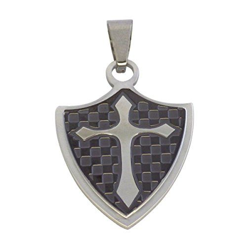 Mens stainless steel knights templar gold shield cross pendant a shield shaped knights templar cross pendant with a black checkerboard background the knights templar cross pendant is made out of surgical stainless aloadofball Image collections