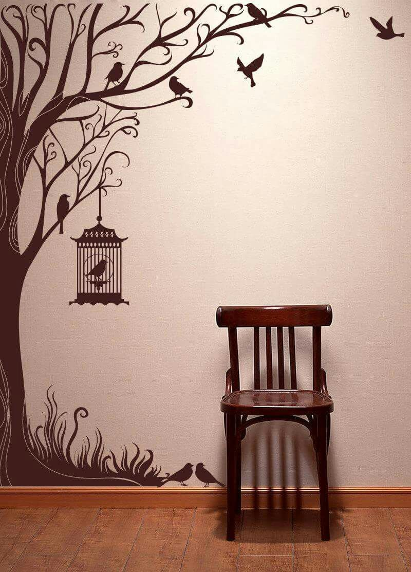 Birds wallpaper tree wall stencils tree wall art wall stickers vintage window