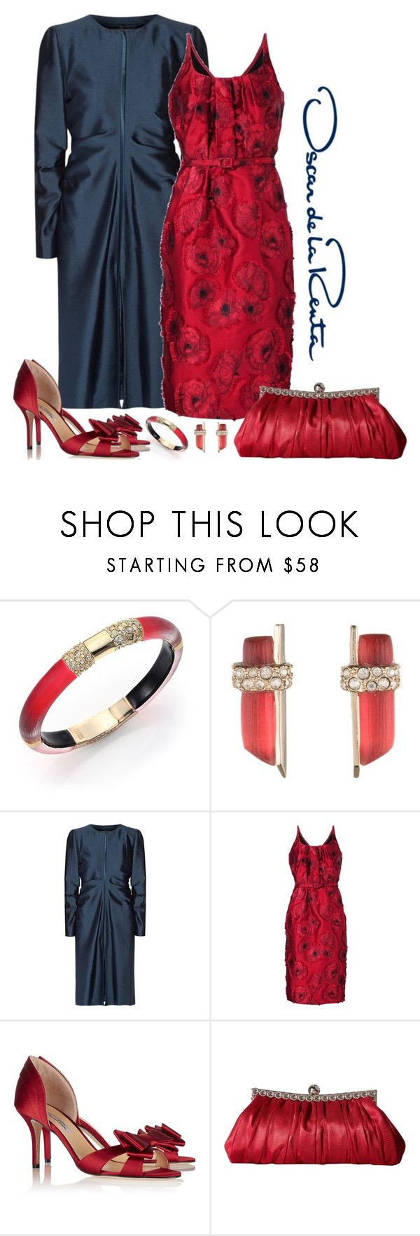 """Oscar de la Renta Floral Jacquard Dress Look"" by romaboots-1 ❤ liked on Polyvore featuring Alexis Bittar, Valentino, Oscar de la Renta and Nina"