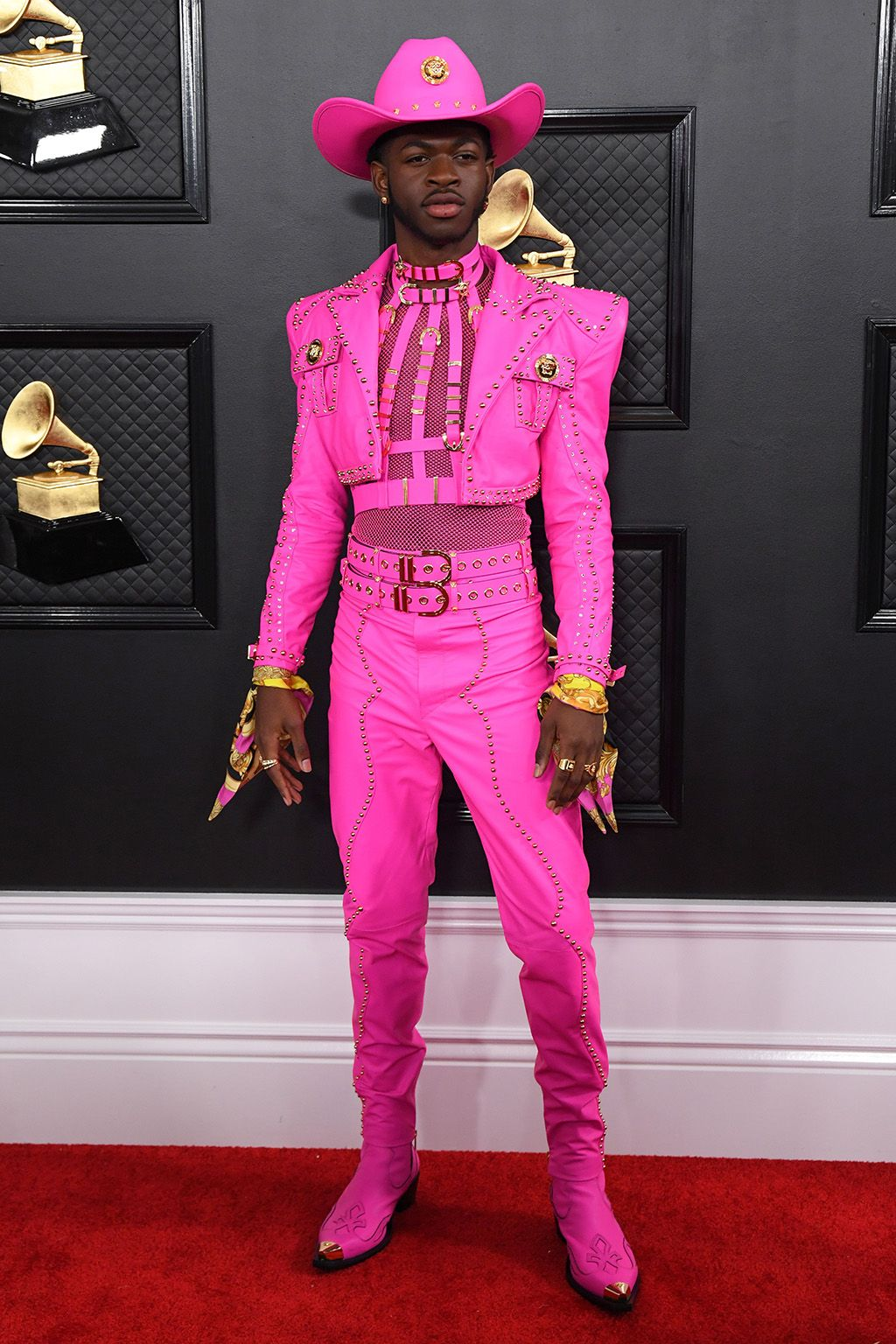 Lil Nas X and Men in Pink at the Grammy Awards Footwear