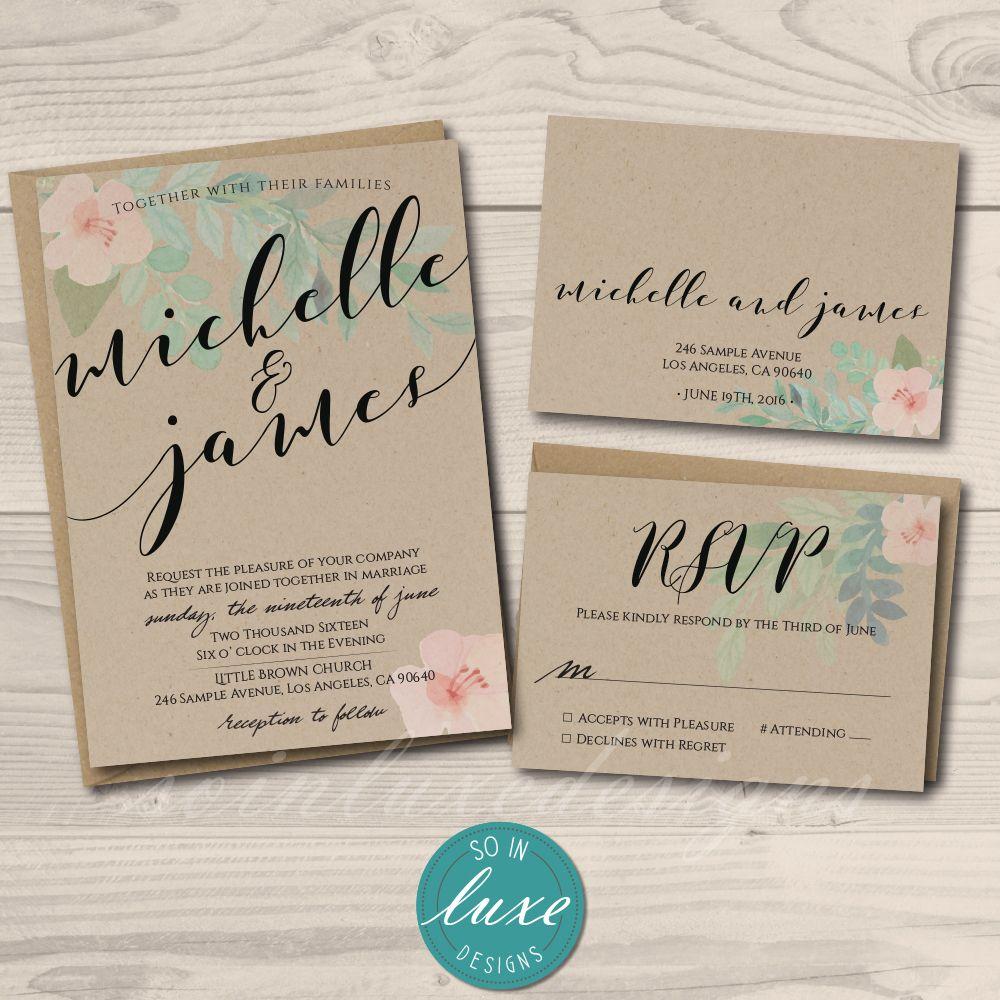 Rustic Floral Wedding Invitation Printed On Kraft Card Stock With Matching Kraft En Printing Wedding Invitations Floral Wedding Invitations Wedding Invitations
