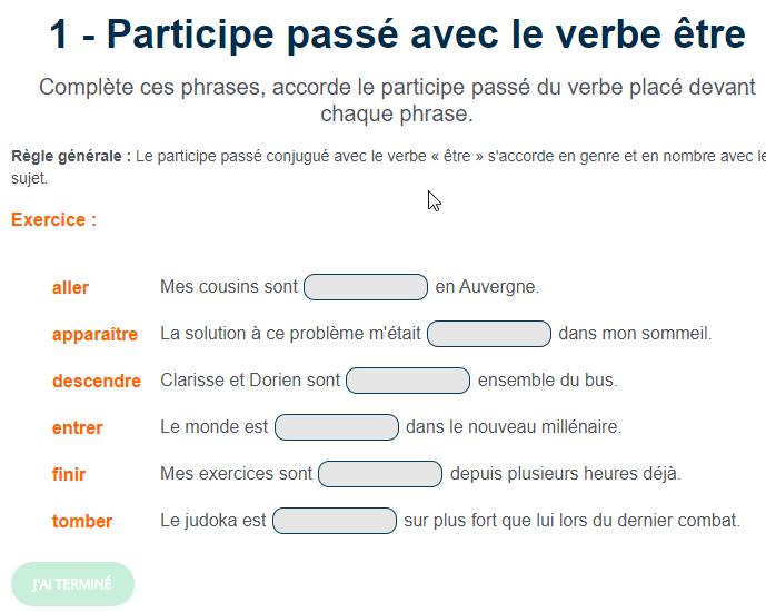 Exercice de conjugaison : Participe passé avec le verbe être   Exercices conjugaison, Verbe etre ...