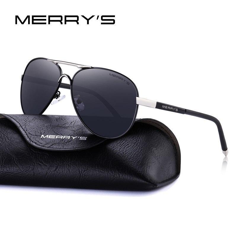 208130d0ba MERRY S Men Classic Pilot Sunglasses HD Polarized Aluminum Driving Sun  glasses Luxury Shades UV400 S 8513