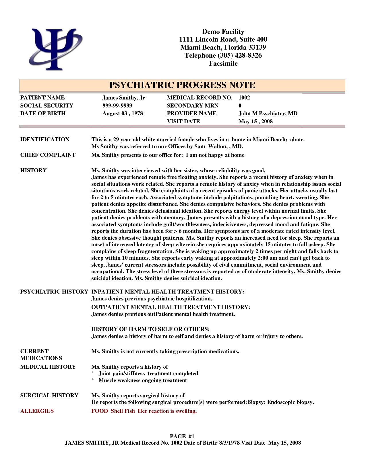 Example of therapy session notes for Psychology progress note template