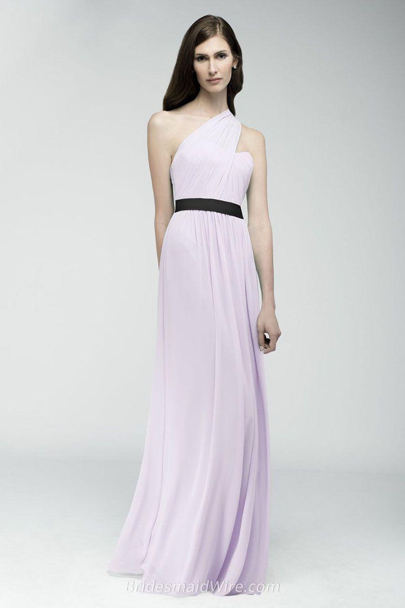 Lavender Crinkle Chiffon One-shoulder Floor Length Long Bridesmaid ...