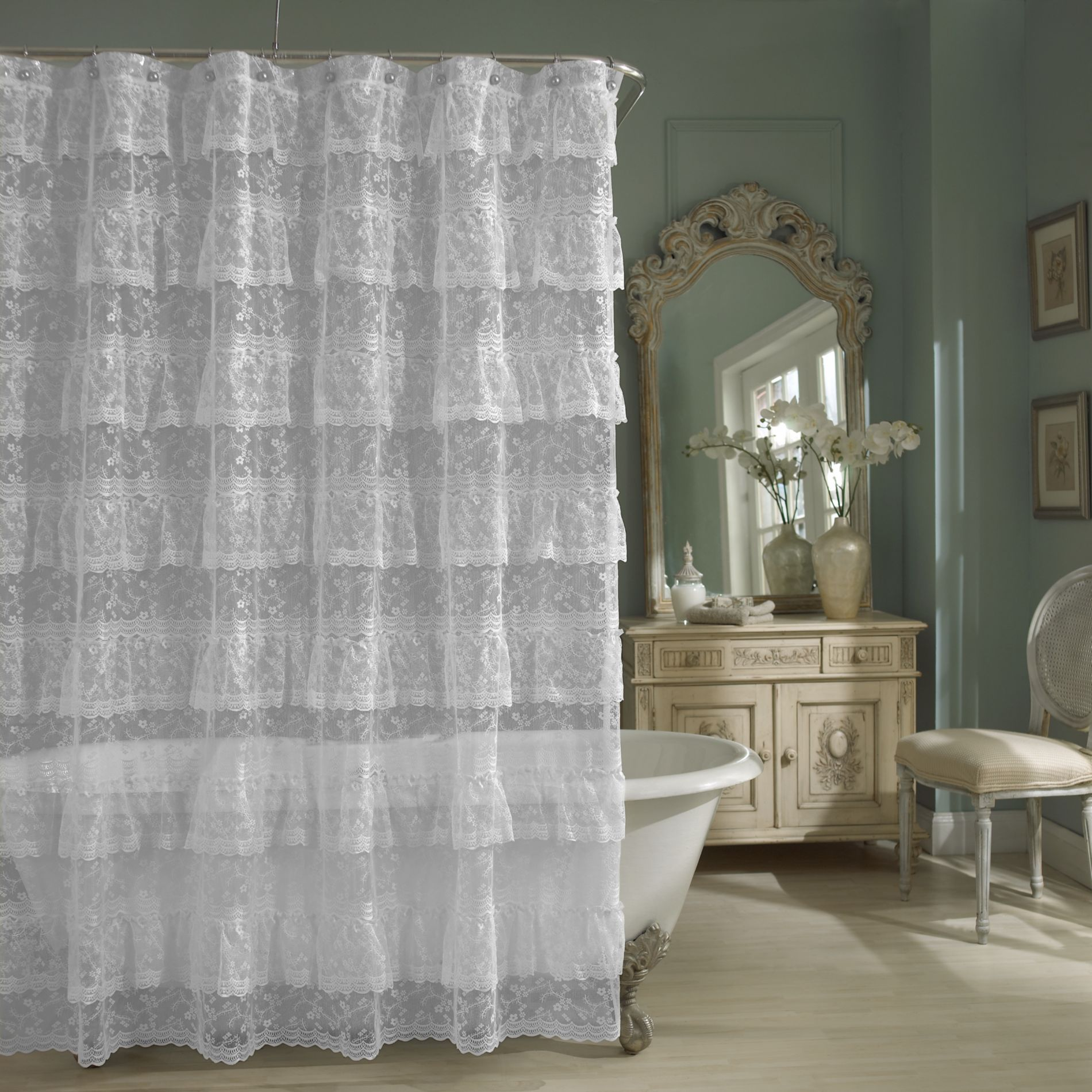 Priscilla lace shower curtain in white bedbathandbeyond