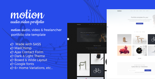 Motion Audio, Video & Portfolio Dark Template | Website-Templates ...
