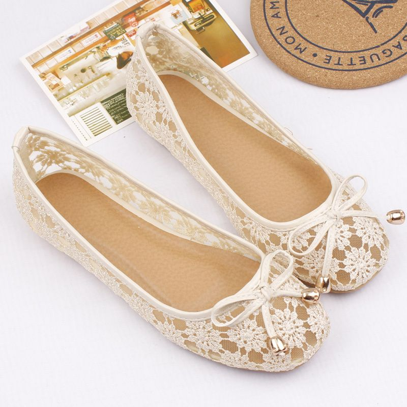 US 5 6 7 8 sexy lace nude see through flat bride ballet  slip on womens shoes
