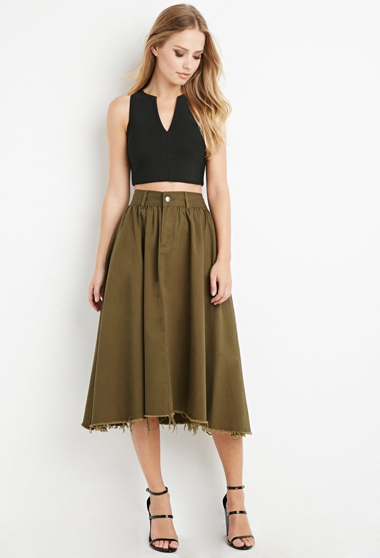 dd55d2a3e4 Frayed Midi Skirt   Forever 21 - 2000180671   style.   Skirts, Midi ...