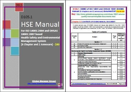 Hse Manual Is A Primary Document Require For Health Safety And