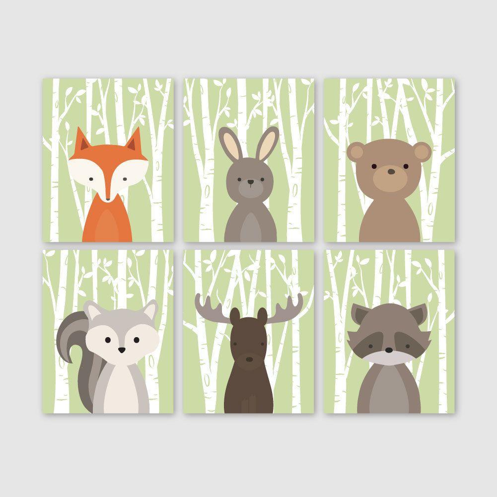 Baby boy nursery art woodland nursery prints woodland for Animal decoration