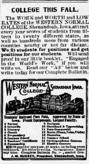 ad for Western Normal College, Shenandoah, Iowa from Holt