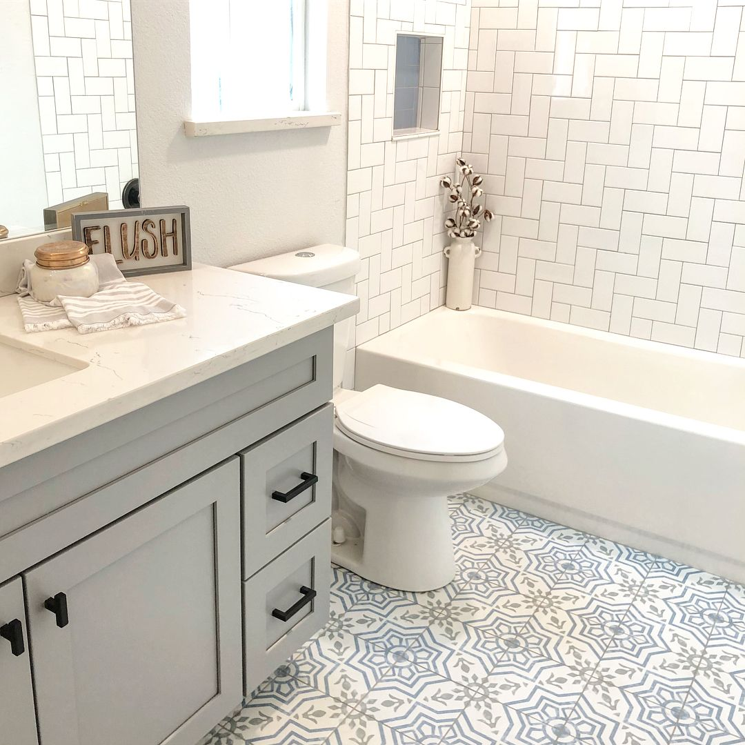 Beckmann House Llc On Instagram When You Change The Entire Feel Of A Bathroom With A Fresh New Col With Images Restroom Remodel Guest Bathroom Remodel Hall Bathroom