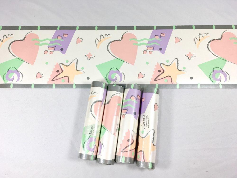 Village Wallpaper Border Girl S Retro 80 S Star Heart Music Pastel 4 Roll Lot Ebay Wallpaper Border Wallpaper Retro
