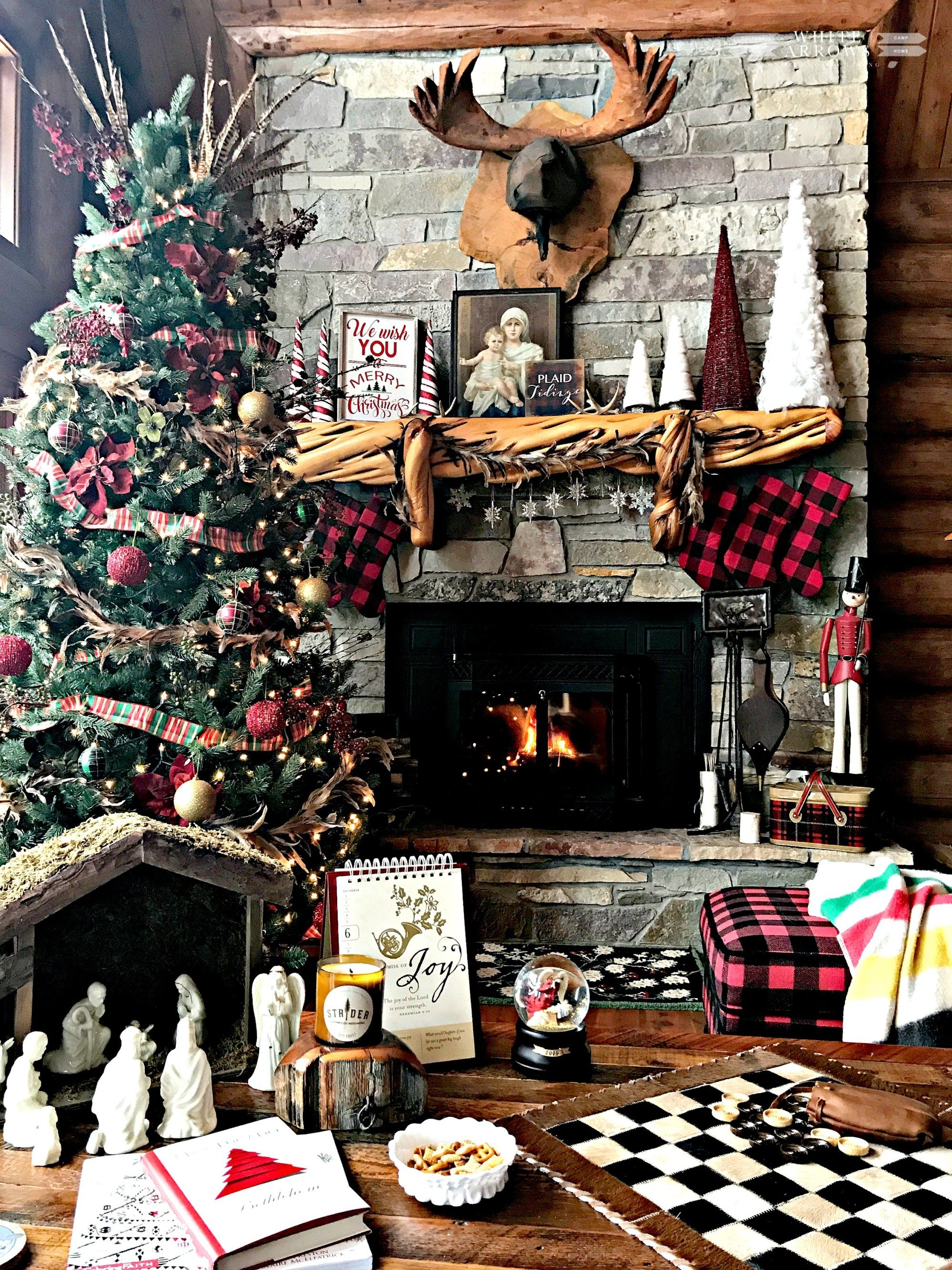 Christmas Mantle, Log Cabin, Cabin, Buffalo Plaid, Rustic Christmas, Stone