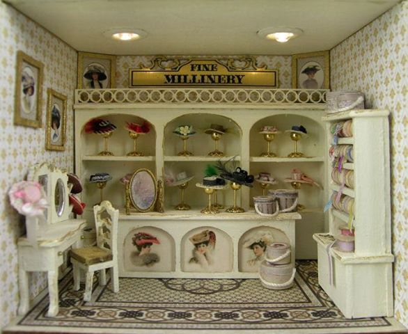 bb93b2fab03740 Doll house hat shop | Dollhouse - Stores | Dolls house shop ...