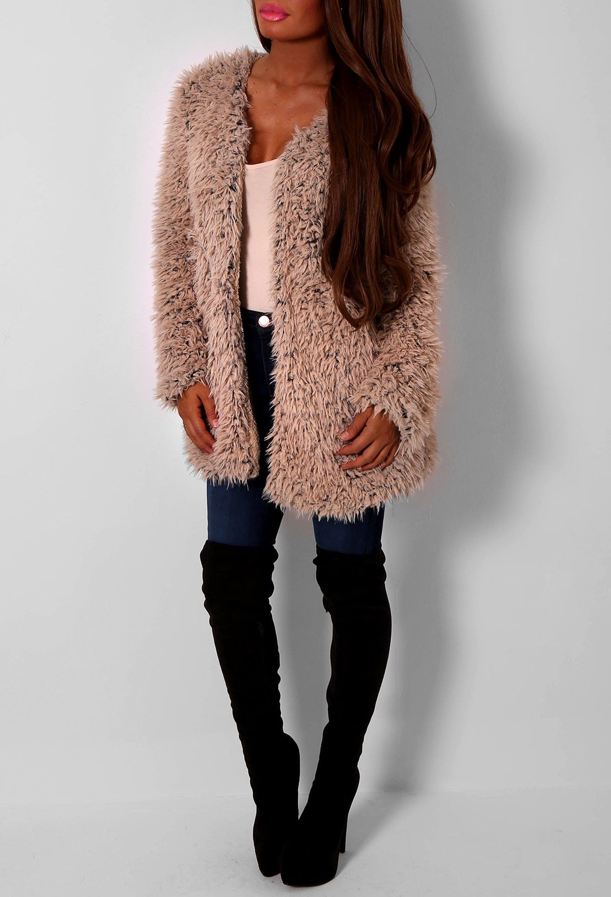 Pink Boutique Hot Cocoa Beige Supersoft Fluffy Jacket £35 http ...