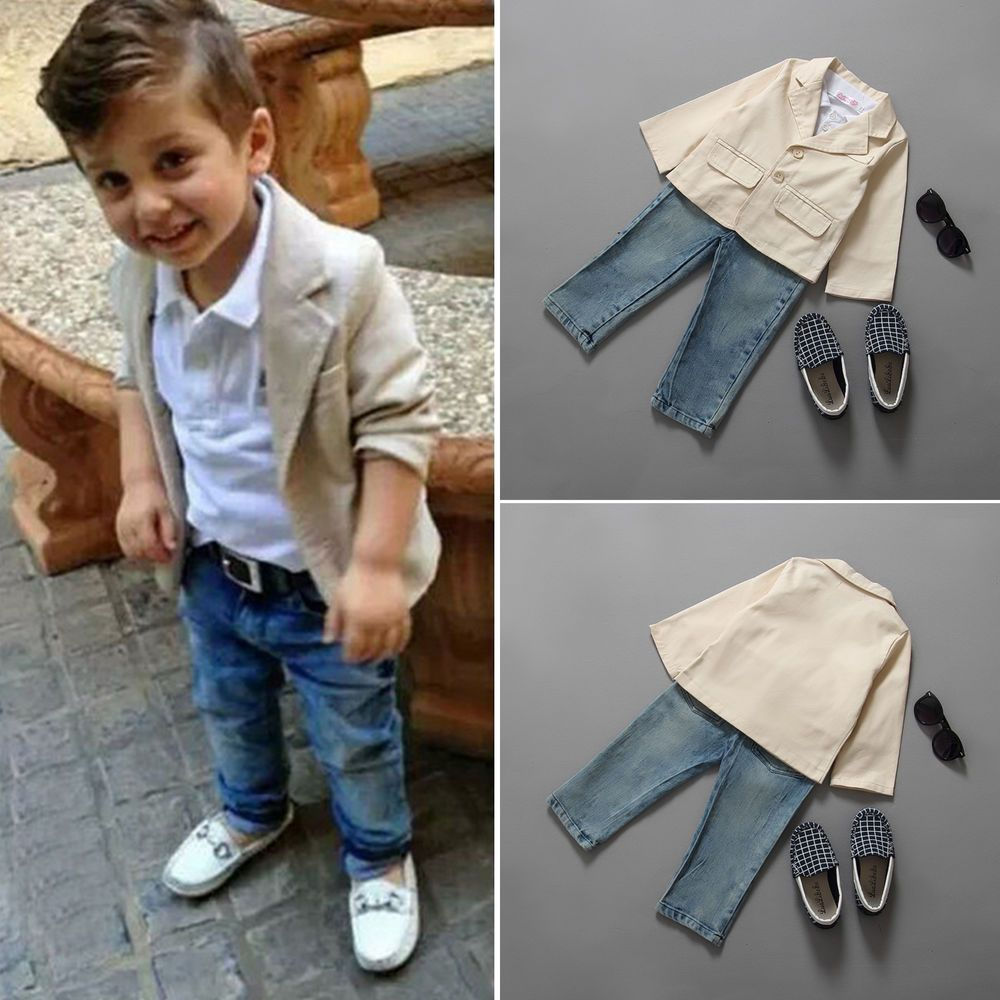Baby Boys Kids Gentleman Outfits Shirt Blazer Denim Jeans Long Pants Clothes Set