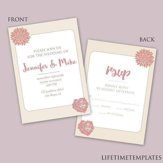 Wedding Invitation Card Template - Printable Wedding Template - birthday invitation card template photoshop