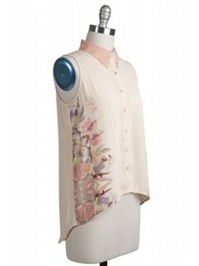 Floral Sleeveless Top With Collar
