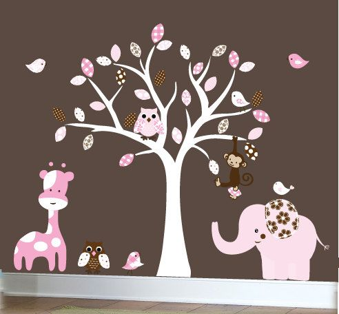 Girls Wall Decal White Tree Decal Jungle Friends By Couturedecals - Nursery wall decals jungle