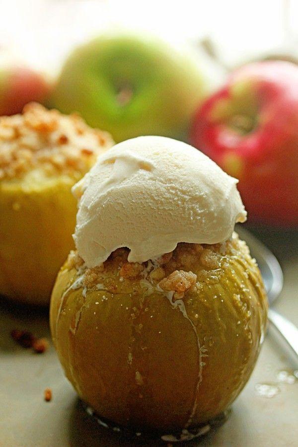 Estas manzanas al horno Crumble son una buena tarta de manzana caliente y…