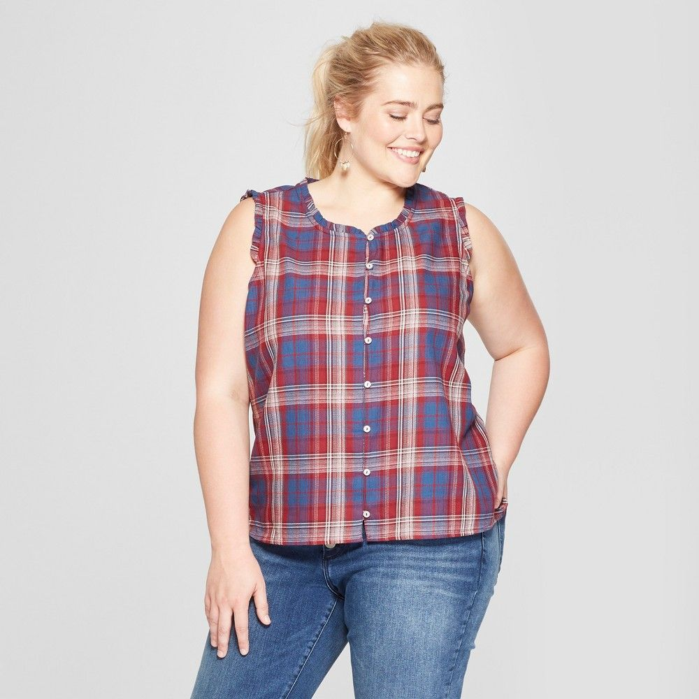 52d3c514a Women's Plus Size Plaid Button Front Sleeveless Blouse - Universal Thread  Red/Navy 2X, Blue