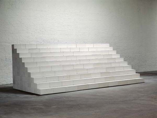Cascade 1984 Aerated concrete blocks, 550 unit stepped stack 68 7/8 x 193 x 94 1/2 inches 174.9 x 490.2 x 240 cm Artwork by Carl Andre