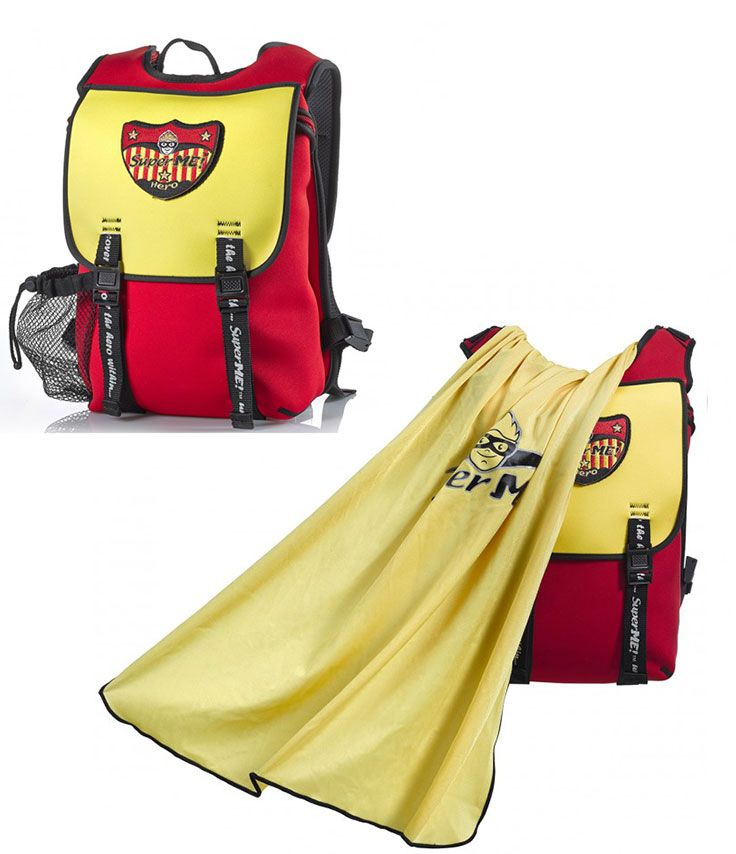 ba871f9dbf7e Superhero backpacks for boys - Golden Powers Cape Kids Backpack - From the  outside