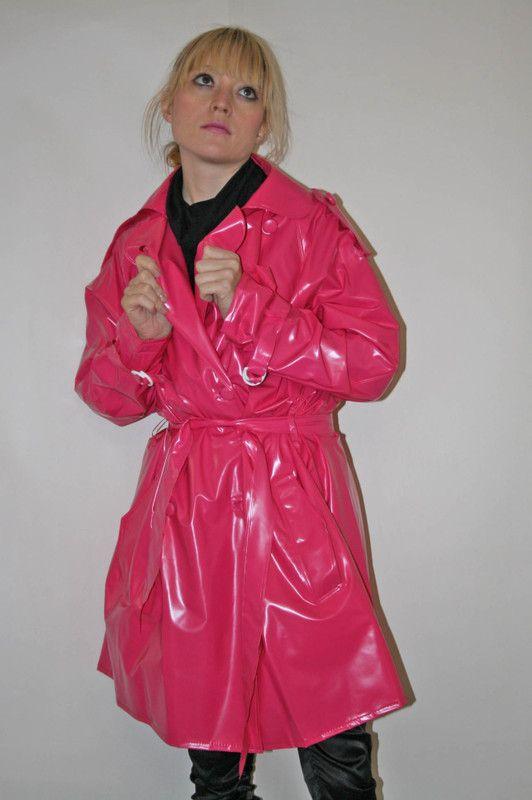 Pink Pvc Raincoat Raincoats For Women, Pink Plastic Trench Coat