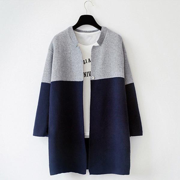 Female fashionable  color block long sleeved long sweater Jacket