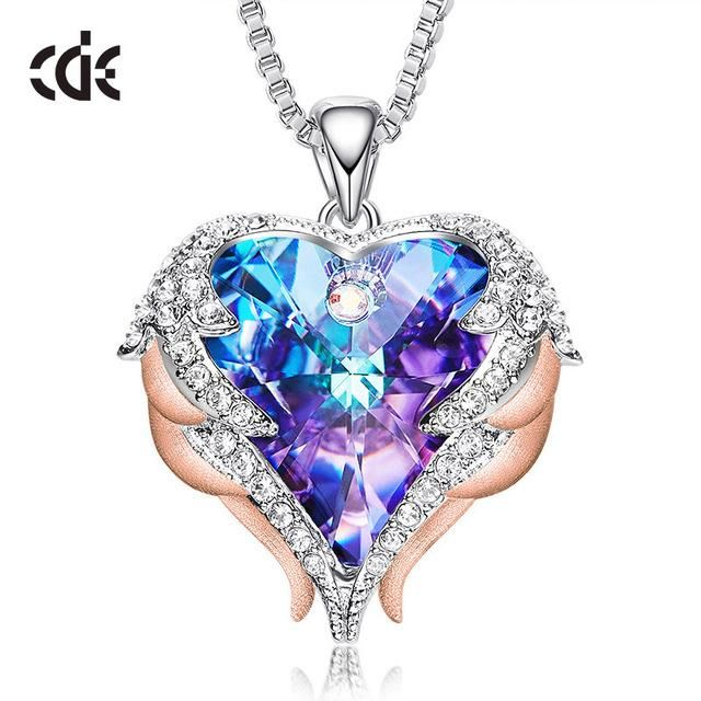 Photo of Women Silver Color Necklace Embellished with Crystals from Swarovski – Purple P0902G / United States / 40cm