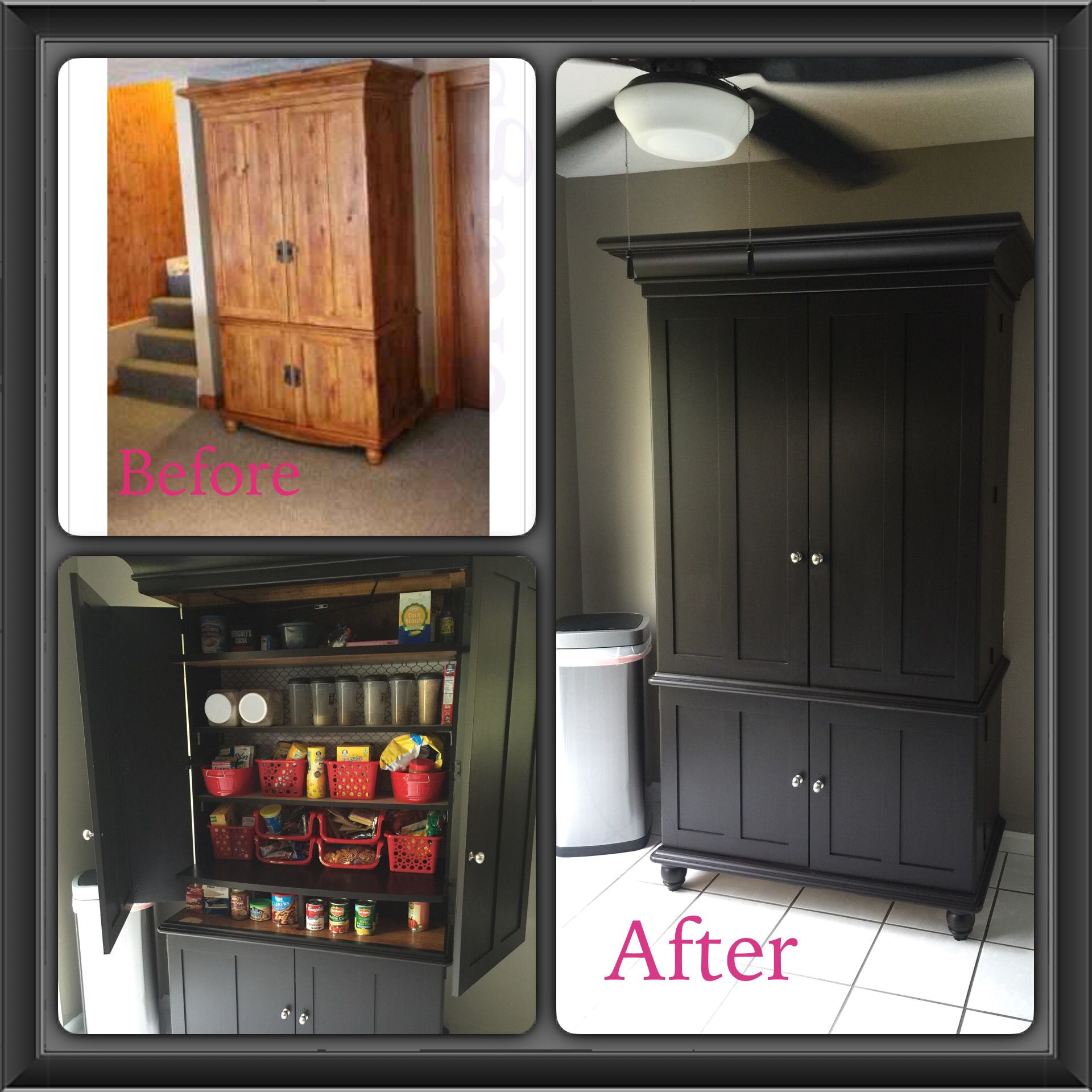 Repurposed TV armoire into a kitchen pantry.  Stain is General Finishes Gel Stain, color Java
