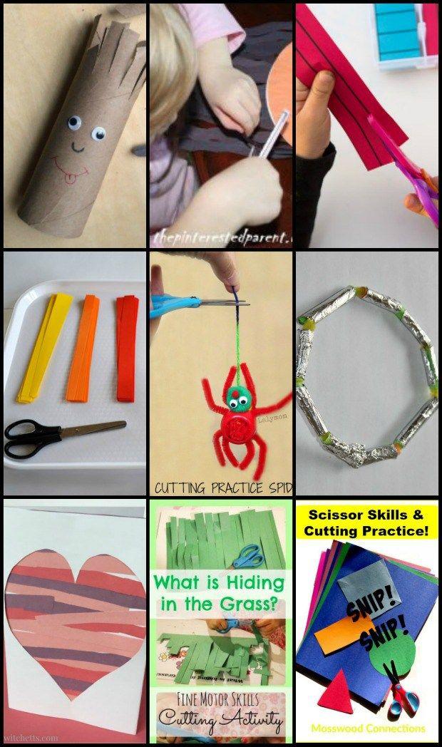 Building scissor skills while making crafts