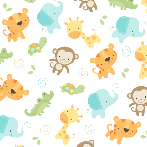 Jungle babies fabric by maudie illustration awesomeness for Childrens jungle fabric