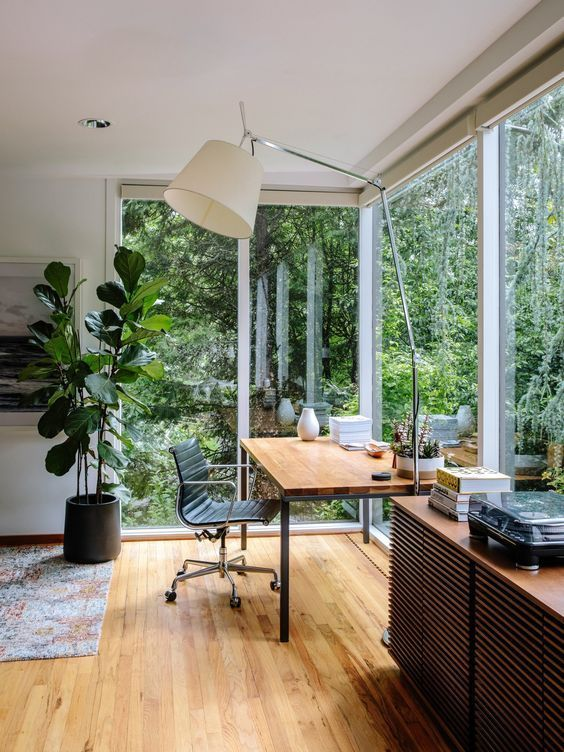 Bright And Open Home Office Surrounded By Nature With Panorama