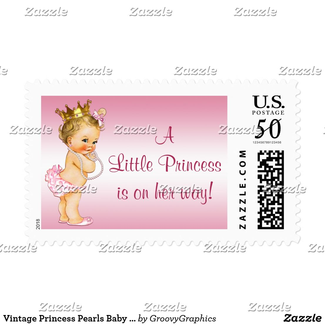 illustration with shower of elegant baby a pin princess pearls beautiful cute postage custom stamps pink vintage