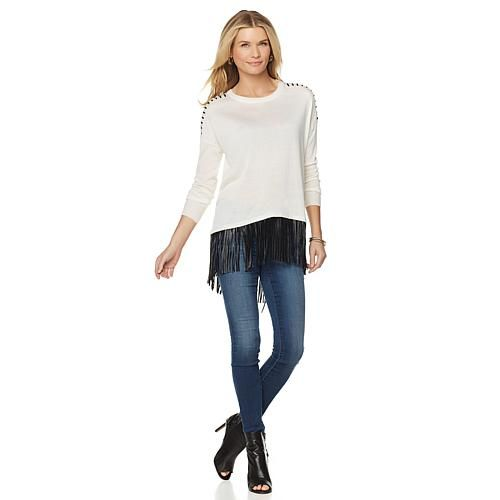 Faith & Zoe Fringe Hi-Low Sweater - Ivory/Off White