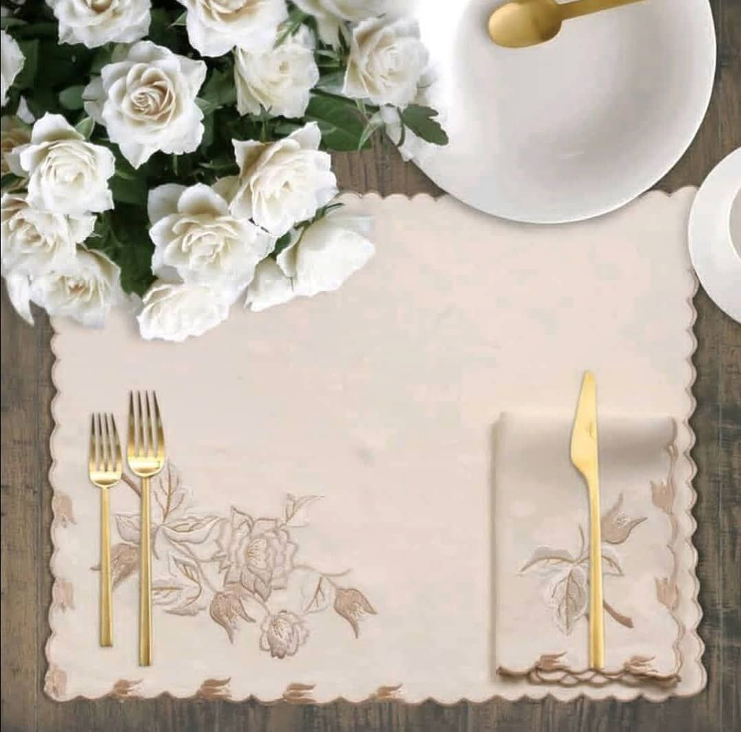 Ponti Home On Instagram Luxurious Embroidered Placemats Fabric 100 Linen Woven In Italy Custom Orders Welcomed Lagoon Linen Placemats Italian Linens