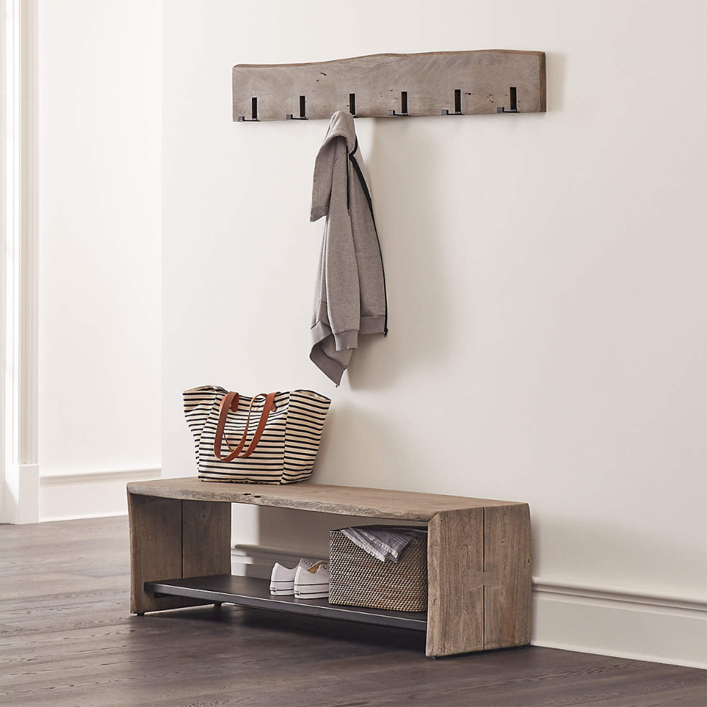 Yukon Natural Entryway Bench With Shelf Reviews Crate And Barrel In 2021 Coat Rack Wall Entryway Bench Entryway Coat Rack