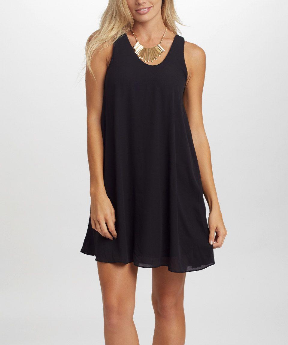 Take a look at this PinkBlush Black Basic Chiffon Dress today!