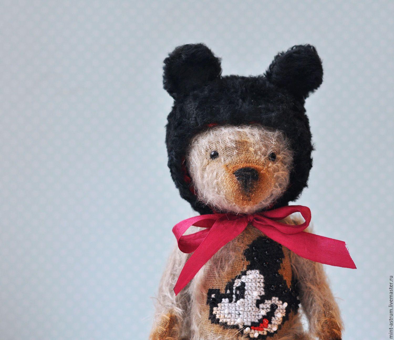 Купить Мишка Микки - серый, черный цвет, Микки Маус, Вышивка крестом, ручная работа